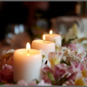Candle centerpiece at a wedding.
