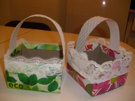 Two colorful Easter baskets made from recycled materials.