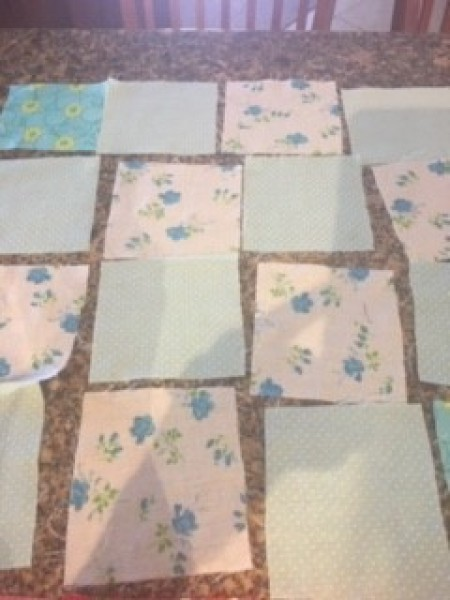 Keepsake Fabric Boxes - blue and white fabric squares