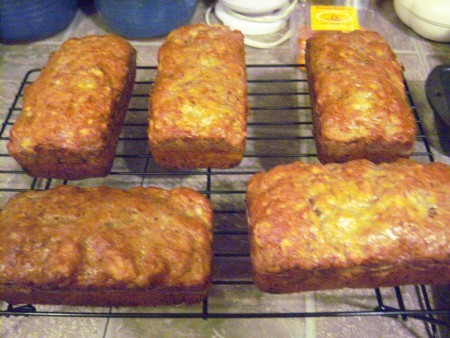 baked Banana Nut Bread loaves on rack