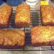 baked Banana Nut Bread loaves on rack