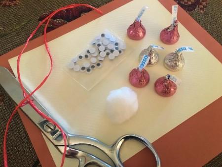 Making Hershey's Kiss Valentine Mice - supplies