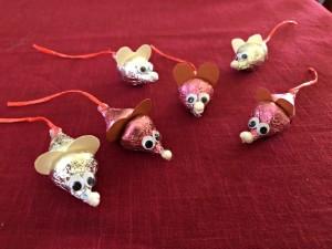 Making Hershey's Kiss Valentine Mice - six Hershey's Kiss mice