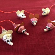 Making Hershey's Kiss Valentine Mice - six Hershey's Kiss mice