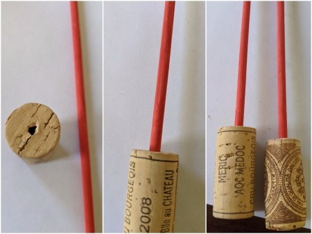 Paper Heart Display - poke a hole in the cork and push the dowel in