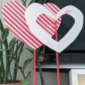 Paper Heart Display - both decorative hearts next to plants