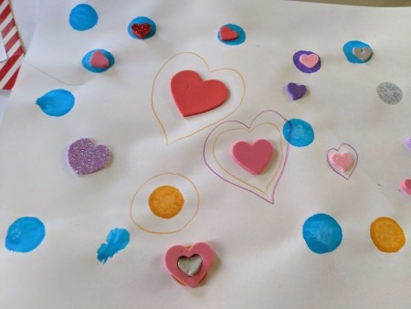 Hot Air Balloon Happy Valentine's Day Hanging Art - colored dots, heart shapes and heart stickers