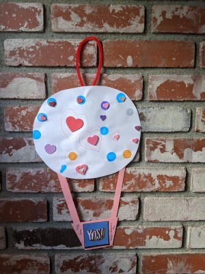 Hot Air Balloon Happy Valentine's Day Hanging Art - hanging on brick fireplace