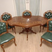 Value of Antique Dining Table and Chairs - inlay table with 5 upholstered chairs