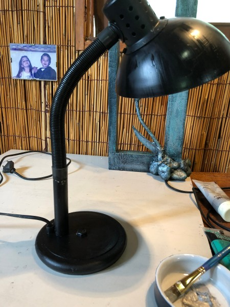 Refurbishing An Old Lamp - first coat of paint, allow to dry