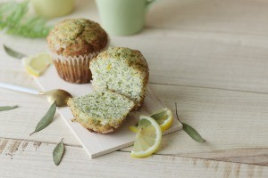 A lemon poppy seed muffin.