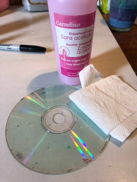 CD Butterfly Decorations - clean both sides of the CD with non-acetone nail polish remover