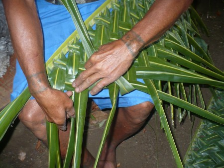 Coconut Leaf Panels - begin weaving