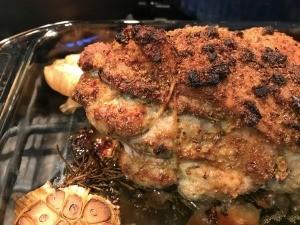 pork shoulder roasted in pan