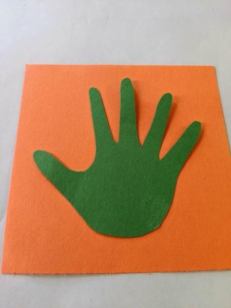 Valentine's Handprint Cactus Card - glue to colored paper