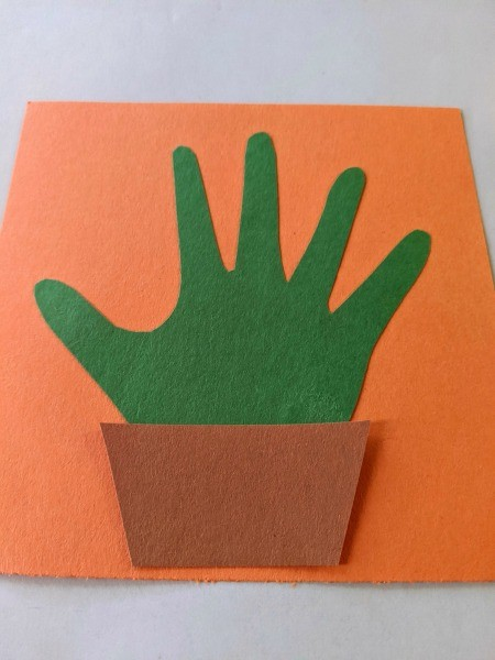 Valentine's Handprint Cactus Card - cut out pot and glue in place