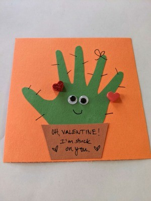 Valentine's Handprint Cactus Card - finished card with foam heart stickers added too