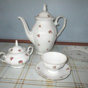 Identifying a Bavarian Tea Set - tea pot, sugar bowl, cup and saucer, and small plate with scattered rose pattern