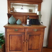Value of Two Antique Sideboards - sideboard with mirrored top, two drawers, and two doors on lower storage area