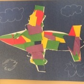 Paper Mosaic Art for Kids - mosaic plane on black paper with clouds drawn on