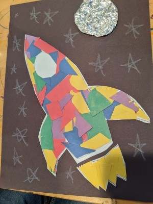 Paper Mosaic Art for Kids - stars and moon added