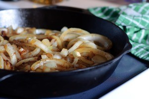 A pan of caramelized onions.