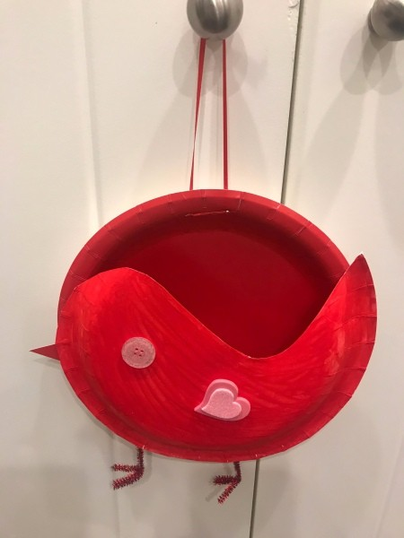 Valentine's Bird Card Holder - closeup of card holder