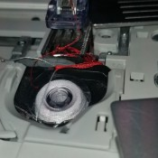 Repairing a Pfaff Sewing Machine that Is Jamming - photo of the needle area and bobbin