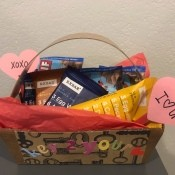 Valentine's Themed Gift Basket for Him - finished snack gift basket