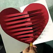 3D Pop-Up Heart Card - open card with 3-D heart