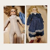 Identifying a Porcelain Doll - side by side photo of the doll dressed and undressed