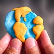 A clay model of the Earth.