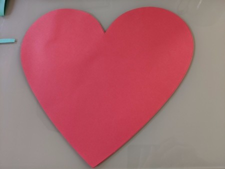 Giant Strawberry Valentine's Day Card - red paper heart