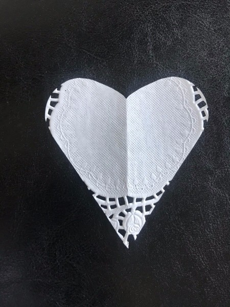 Transform any Vase into a One with a Valentine's Theme - doily cut into a heart shape