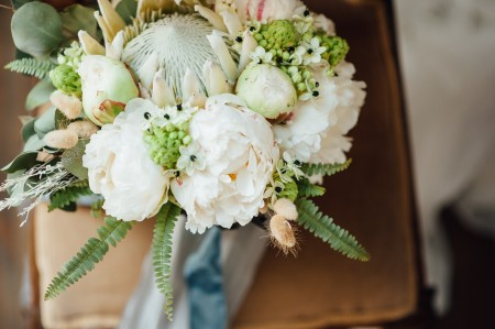 Bouquet of flowers, white and green.
