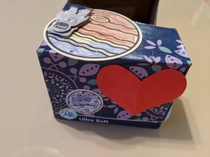 Space Valentine Box - one end with large red heart and smaller elements