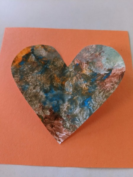 Valentine's Day Spider Card - heart shape cut from child's painting