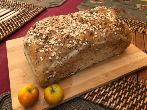 Chia Sunflower Bread on wooden board