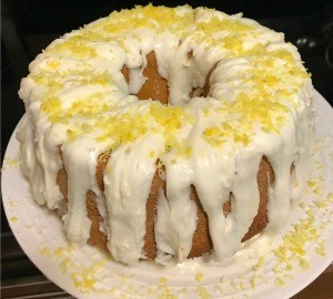 A butter lemon pound cake with icing.