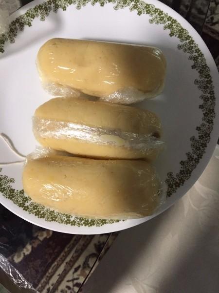 saran wrapped rolled mung bean