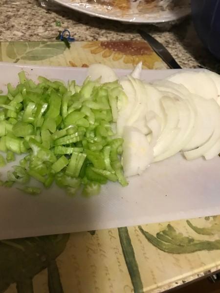 sliced celery & onions