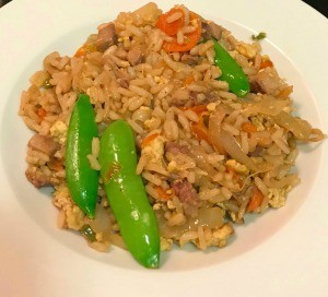 Pork Fried Rice with Duck Sauce in bowl