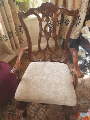 Identifying an Arm Chair - dining chair with ornate back and upholstered seat
