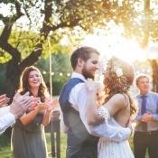 An outdoor wedding celebration.