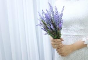 A wedding bouquet of lavender.
