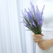 A wedding bouquet of lavender.