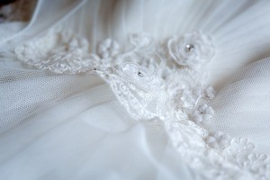 An embellished wedding gown.