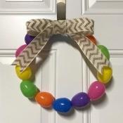Plastic Easter Egg Wreath - hanging on the door