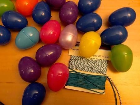 Making a Plastic Egg Garland - supplies