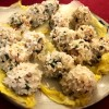 Sticky Rice Shumai on cabbage leaves plate